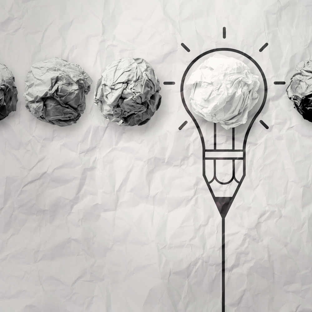 light bulb crumpled paper in pencil light bulb as creative concept